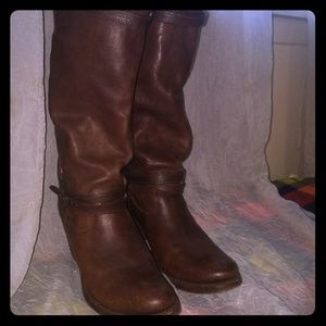 Brown Jane Strappy Knee High Dark Tumbled Full Gra
